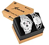 Rich Club Set of 2 Addictive Silver Analogue Couple Watch for Men and Women (27-SLV+DB-SLV)