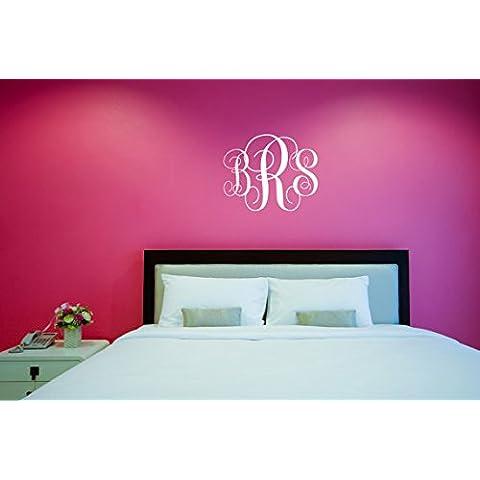 angyzb monogramma lettere, nursery in vinile, decalcomania da parete adesivo da parete, Collegio dormitorio camera, personalizzato monogramma iniziale monogramma lettere 31,1x 25,4cm