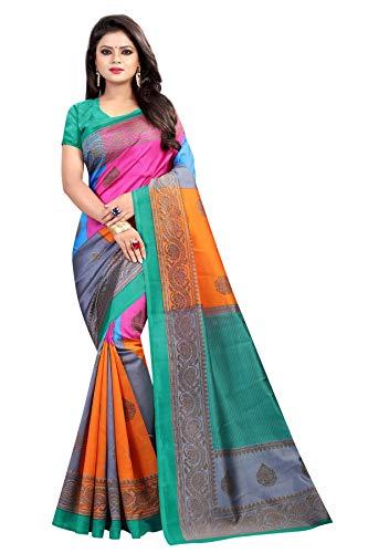 Chirag Enterprise Presents women's art silk kalamkari and bhagalpuri style jari border saree with blouse piece (Multi-Color_Free_Size) JARI MIRA PINK