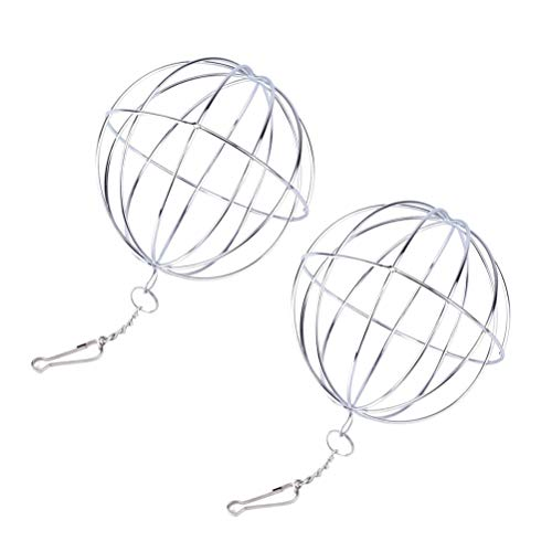 UKCOCO 2pcs Kaninchen Gras Ball, Futterball für Nager, Hamster Spielzeug, Edelstahl Kugel Förmigen Stroh Feld, Multifunktionsball, 8cm