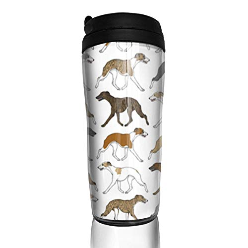 Travel Coffee Mug Trotting Whippet 12 Oz Spill Proof Flip Lid Water Bottle Environmental Protection Material ABS