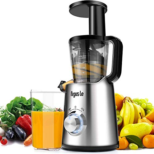 Argus Le Slow Juicer Elektrische Kaltpresse Entsafter für Gemüse und Obst Hoch Saftausbeute Edelstahl Ruhiger Motor Schnelle Reinigung Saftbehälter Reinigungsbürste BPA Frei