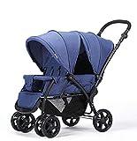 QZX Doppel-Kinderwagen mit Kinderwagenaufsatz Neugeborenes und Kleinkind, Tandem-Reise-System-Buggy Pramette Cabrio-Aufsatz für Sitz und Kleinkind- / Kindersitz,Blue