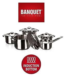 Banquet Ellize Cookware (lot de 10), EN ACIER INOXYDABLE, Argent, 24.5x 44.5x 18.5cm