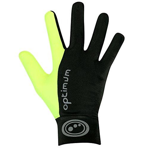 OPTIMUM Guantes para Correr Orrell para Hombre, Hombre, Color Black/Fluorescent, tamaño L