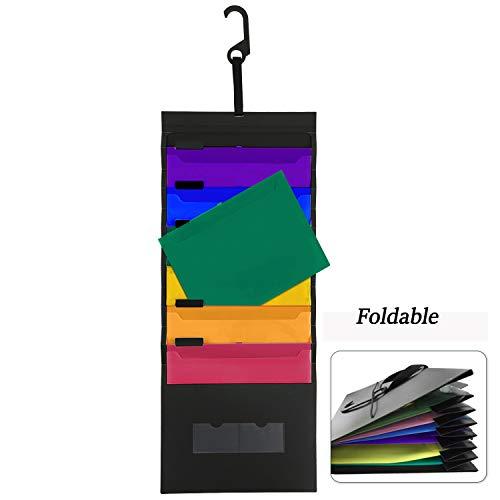 UBaymax Organizer Ordner mit 6 Taschen Ordnungsmappe zum Aufhängen PP Material perfekt für Home Organisation, Schule Pocket Chart, Office Bill Einreichung