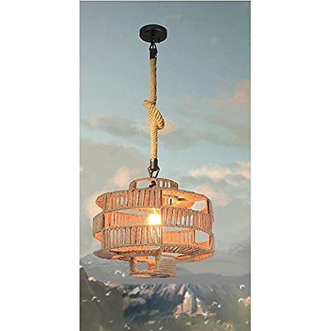 BJVB Vintage industrial tejida a mano cáñamo cuerda araña de hierro forjado jaula estilo lámpara colgante