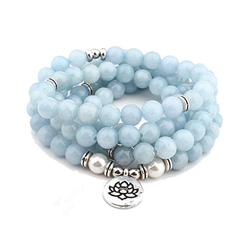 Wanzijing collana di perle di mala, 8mm 108 bracciale di perle di mala amazzonite simbolo di loto charms gioielli per uomini donne
