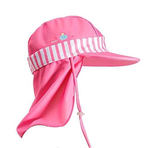 Lemandii Kinder Schirmmütze mit Nackenschutz, Sommer Kind Sonnenhut, Sommerhut Badekappe Sommermuetze UV-Schutz (Rosa)
