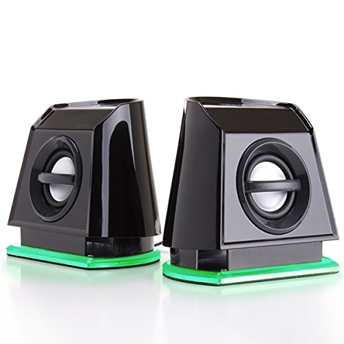 GOgroove LED Satelliten Lautsprecher Set / Stereo 2.0 Speaker System Subwoofer für Computerspiele wie Mass Effect Dawn of War III Tom Clancy's Ghost Recon Minecraft Far Cry Primal und mehr (Bluetooth Dusche Lautsprecher Stereo)