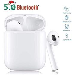 NLIUJINSHIS Bluetooth 5.0, oreillette sans Fil, Microphone intégré et boîte de Chargement, réduction du Bruit 3D HD stéréo pour Casques Apple Airpods Android/iPhone Pro/Samsung