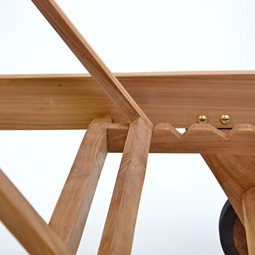 Divero Gartenliege  Holzliege Teak Holz behandelt