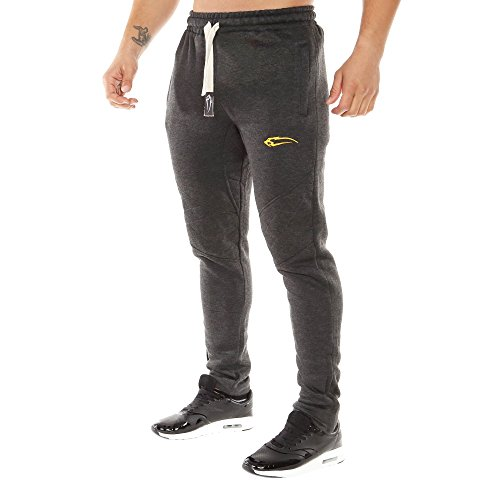 SMILODOX Slim Fit Herren Jogginghose 'Dynamic 2.0' | Trainingshose für Sport Fitness Gym & Freizeit | Sporthose - Jogger Pants - Sweatpants Hosen - Freizeithose Lang Anthrazit/Gelb