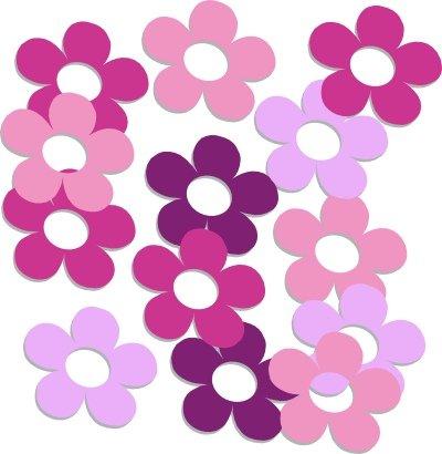 16-Stck-Aufkleber-frs-Fahrrad-Autoaufkleber-Blumen-Shiny-Flowers-Pink-Miss-Sticker-Autotattoo-Outdoor-Wandtattoo-Fensterbild-rosa-violett