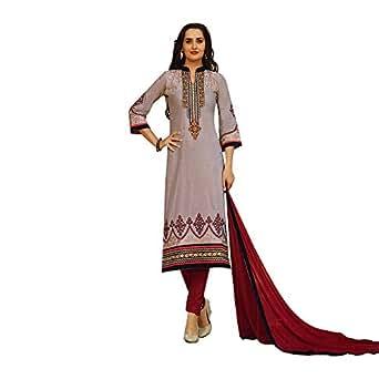 Designer Cotton Embroidered Formal Salwar Kameez Suit (Un-Stitched)