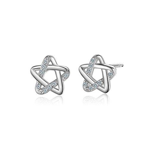 WHCREAT Pendientes de plata 925 en forma de estrella con circonias cúbicas para mujer
