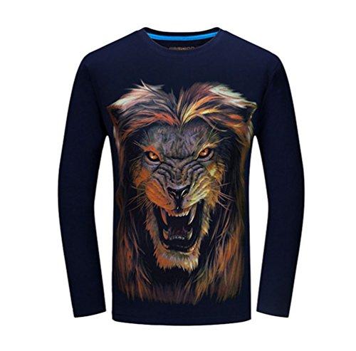 NiSeng Hommes 3D Modèle De Loup Impression T-Shirt Personnalité Cou Rond Manches Longues Tee T-Shirt NiSeng