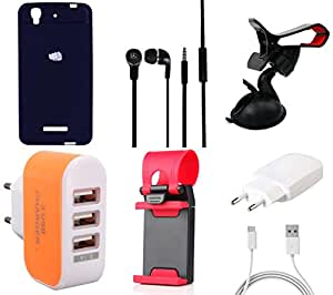 NIROSHA Cover Case Charger Headphone Mobile Holder Combo for YU Yureka Combo