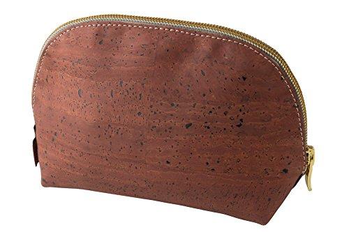 Neceser / Estuche de maquillaje marca SIMARU – Hecho de corcho / piel de corcho vegana - ideal como bolsa para cosméticos. Color Rojo oscuro