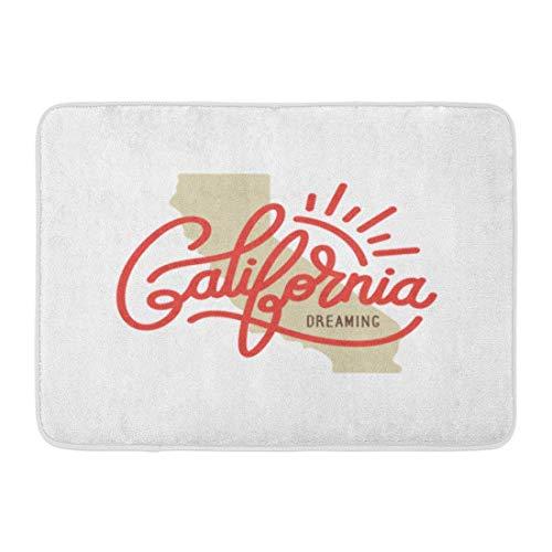 Bad Teppiche Outdoor/Indoor Fußmatte Surf California Dreaming Graphics Ähnliche Wort Schriftzug Cali Vintage America Badezimmer Dekor Teppich Badematte ()