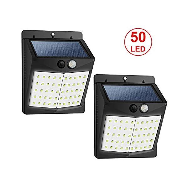 [Upgraded 50 LED] Solar Lights Outdoor, SEZAC Solar Security Lights Solar 150° Wide Angle Lighting Solar Motion Sensor Lights Wireless Waterproof Outdoor Lights 41mLAhMIGUL
