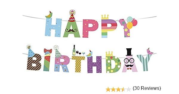 """/""""Happy Birthday/"""" Joyeux Anniversaire Sterling James Co. Banderole ou Guirlande ou banni/ère de Joyeux Anniversaire Jolie d/éco pour Photos Souvenirs d/'Anniversaire"""
