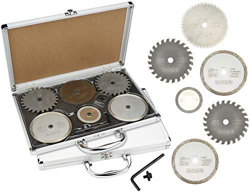 com-four® 12 Sägeblätter für Mini-Handkreissäge, für Verschiedene Materialien, mit Zubehör