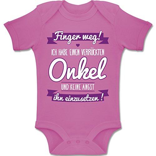 Shirtracer Sprüche Baby - Ich Habe einen verrückten Onkel lila - 6-12 Monate - Pink - BZ10 - Baby Body Kurzarm Jungen Mädchen (Für Kleidung Spaß, Mädchen)