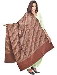 Weavers Villa Women's Woven Woollen Shawl (WV705-COFFEE, Beige, Large)