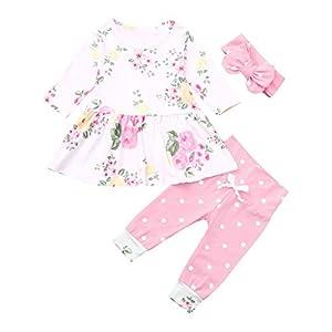 catmoew Baby Mädchen Kleidung Kleider (0M-18M) Neugeborene Kleidung Blumen Wellenpunkt Rock Hosen Set Kleid Tops + Hose + Haarband Outfits Gamaschen Kleider