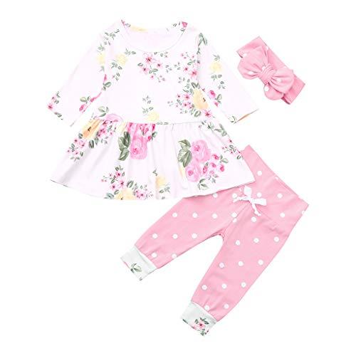 YusellYu_Mädchen Strampler Jumpsuit Yusell  Neugeborenes Baby Floral Tops Kleid Hosen Dot Leggings Outfits Kleidung Set (80) Dot Legging-set
