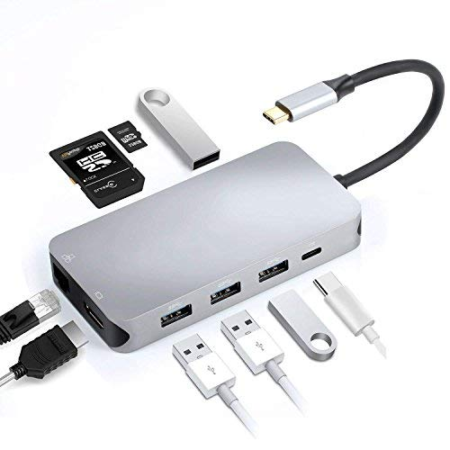 Hub 9 in 1 USB C a HDMI e RJ45, Thunderbolt 3, USB-C, Lettore di schede SD e Micro SD/TF, 4 Porte USB 3.0 (Grigio)