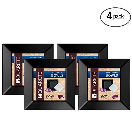 squarete 5Unze quadratisch schwarz Party Dessert bowlsl schwer Pflicht Elegant Einweg 5Oz Quadrat Dessert Schalen 10Schalen Pro Paket