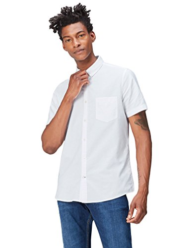 FIND Herren Kurzärmeliges Leinenhemd Weiß (White)