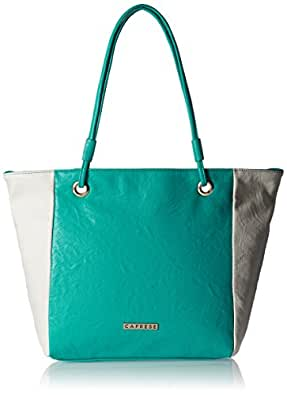 Caprese Women's Summer Tote Bag (Turquoise and White)