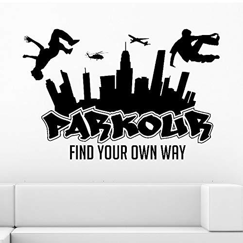 Stadt Silhouette Wandtattoos Jungen Free Running Springen Urban Style Skate Graffiti Kunst Wandaufkleber Finde Deinen Eigenen Weg 63X42 Cm 10 Blush - Urban Blush