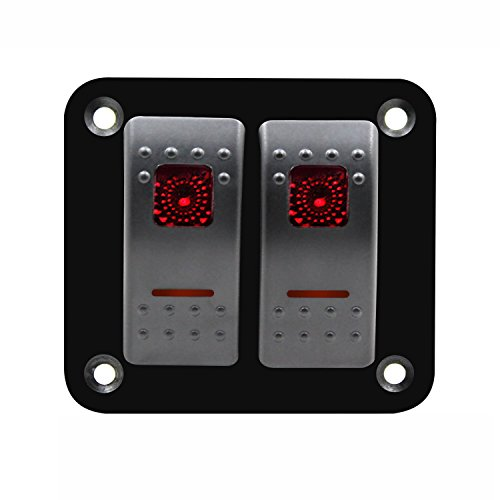 XZANTE 12V-24V 2 Gang rot Rocker Switch Panel Leistungsschalter Boot Marine wasserdicht -