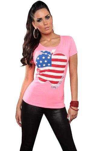 """KouCla Damen T-Shirt Top Longshirt """"Big Apple"""" Apfel Rundhals-Auschnitt Pink"""