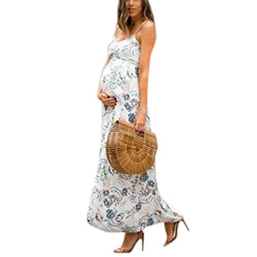 WFRAU Frauen Umstandsmode Ärmellose Kleider umstandskleid Mama Scoop Neck Baby Shower Schwangerschaft Kleid Umstandsmode Damen Kleider Blumen Lange Schwangerschafts Kleider Linie Scoop Neck