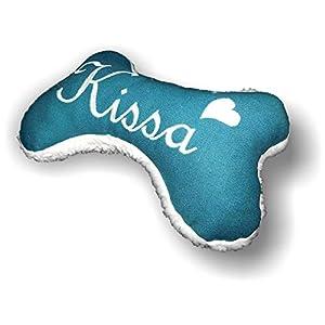 Hunde Spielzeug Kissen Knochen Hundeknochen Quitscher petrol Größe XXS XS S M L XL oder XXL mit Name Wunschname Hundekissen