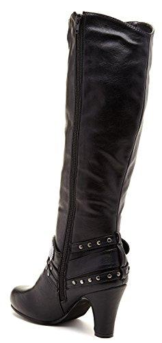 Funky Fourever da donna, con borchie, finta Ette Leah a fascia per ginocchio Nero (nero)