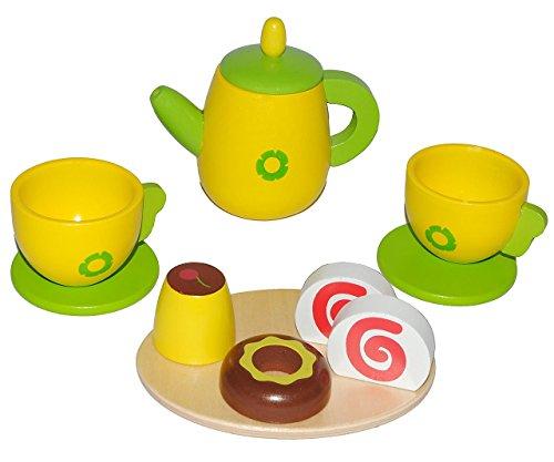 11 tlg. Set - Puppengeschirr mit Kuchen aus Holz - Kaffeekanne + Teller + Tassen - Geschirr -...