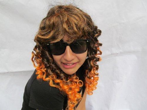 Femmes Halloween brun & orange sorcière devil vampire bouclé spiral perruque cheveux pièce déguisement, Déguisement, sorties - Posté de Londres par Fat-catz