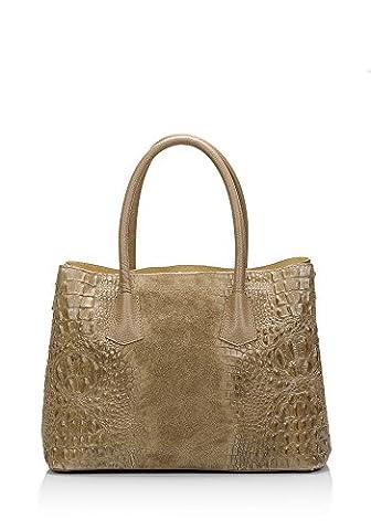 Laura Moretti - Sac à main en cuir gravé du crocodile (croco motif) et suède avec petit sac