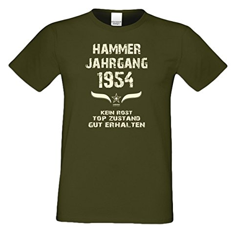 Geschenk zum 63. Geburtstag :-: Geschenkidee Herren Geburtstags-Sprüche-T-Shirt mit Jahreszahl :-: Hammer Jahrgang 1954 :-: Geburtstagsgeschenk Männer :-: Farbe: khaki Khaki
