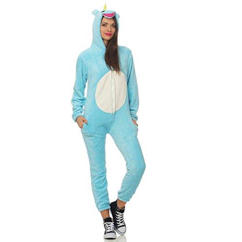 LBB 90Z5 Damen Jumpsuit Einteiler Overall Tier Anzug Blaues Einhorn Gr S -