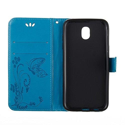 Solid Color Faux Leder Bookstyle Brieftasche Stand Case mit geprägten Flower & Lanyard & Card Slots für Samsung Galaxy J3 2017 European Edition ( Color : Blue ) Blue