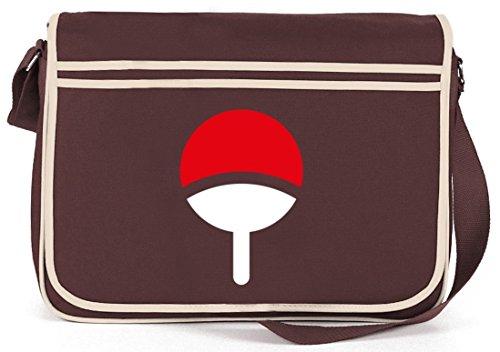 Shirtstreet24, Familie Uchiha, Retro Messenger Bag Kuriertasche Umhängetasche Braun