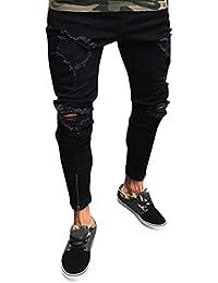Oferta de Liquidación! Ropa interior Troncos de natación Pantalones Slim para hombre Biker Zipper Pantalones vaqueros Pantalones… rHEGR4