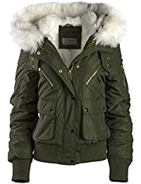 Damen Winterjacke KURZ Mantel Pilotenjacke Army Style XXL Fell Kapuze WARM 215be8b41e